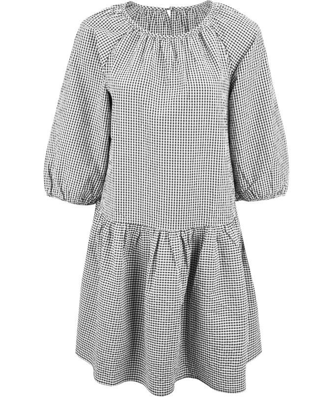 L Gingham Baby Doll Dress