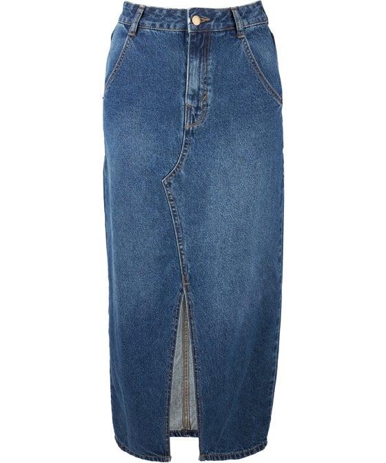 Women's Longline Denim Skirt