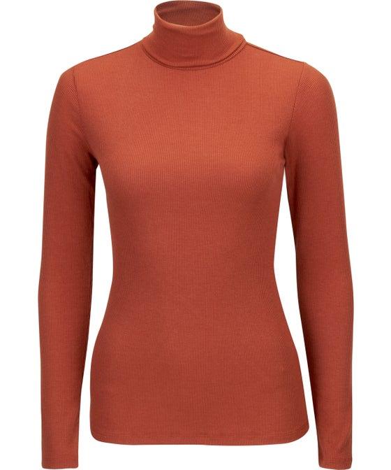 Women's Long Sleeve Rib Roll Neck Top