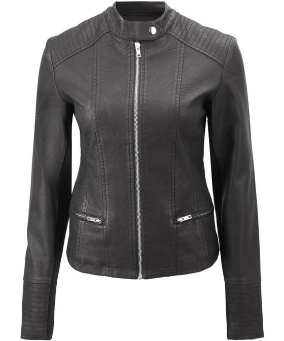 Women's Mandarin Collar Pleather Jacket