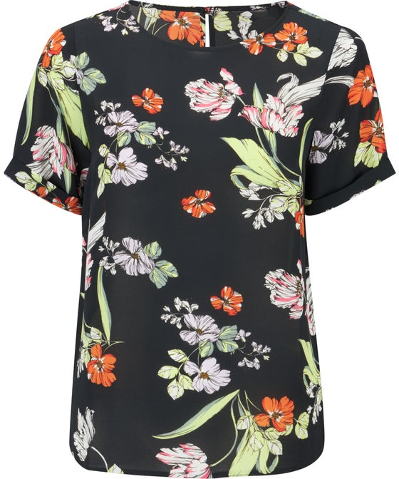 Women's Printed Roll Sleeve Woven Top