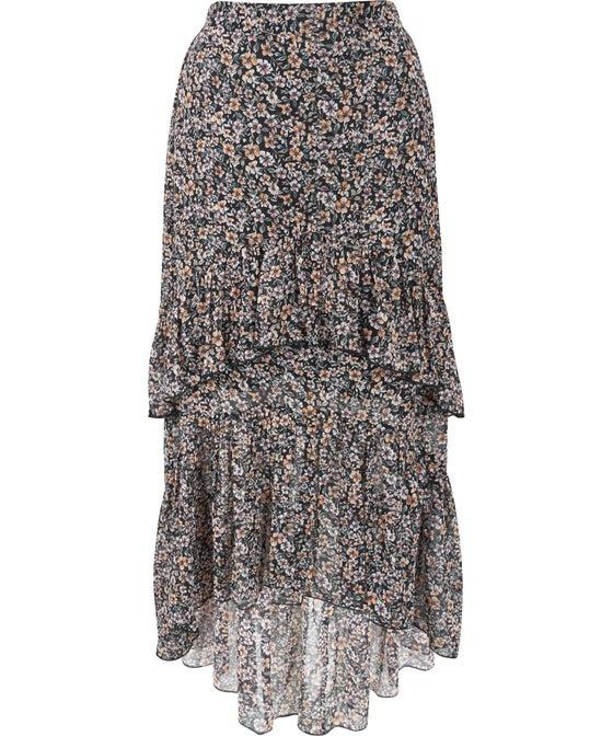 Women's Printed Tiered Chiffon Skirt
