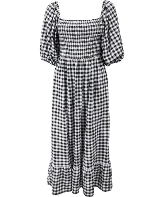 Women's Puff Sleeve Shirred Gingham Dress