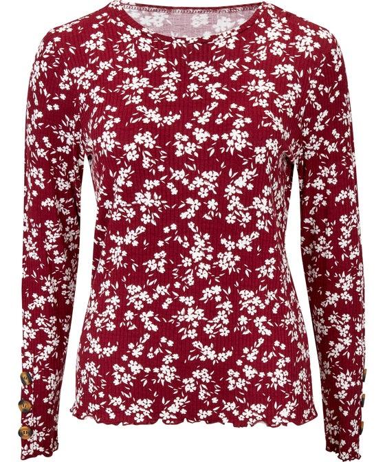 Women's Rib Button Sleeve Top