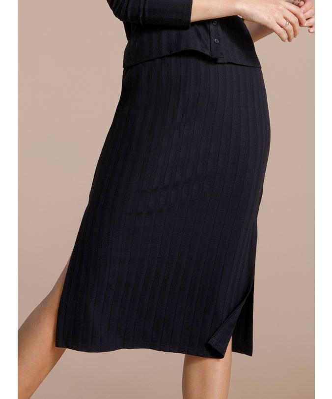 L Ribbed Midi Skirt
