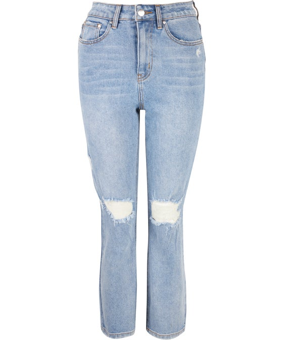 Women's Ripped Knee Mom Jeans