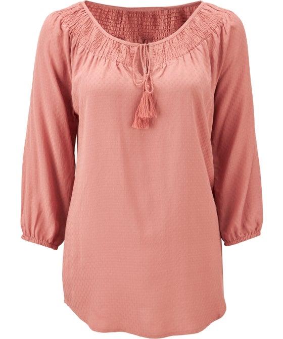 Women's Shirred 3/4 Sleeve Gypsy Top