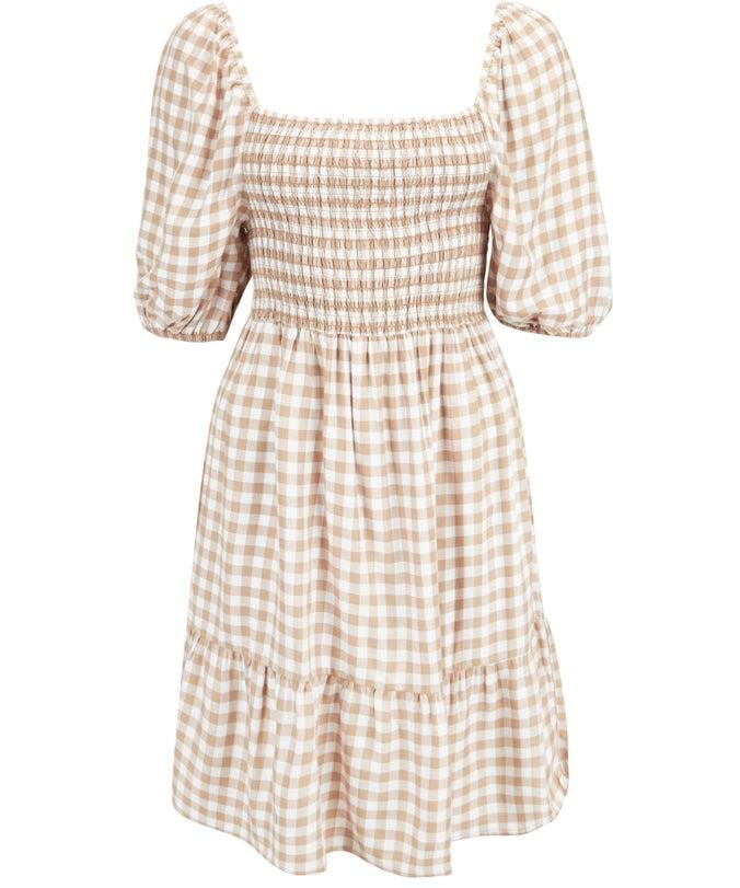L Shirred Mini Dress