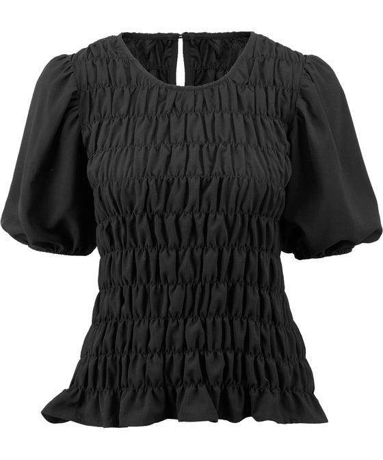 Womens' Shirred Puff Sleeve Blouse