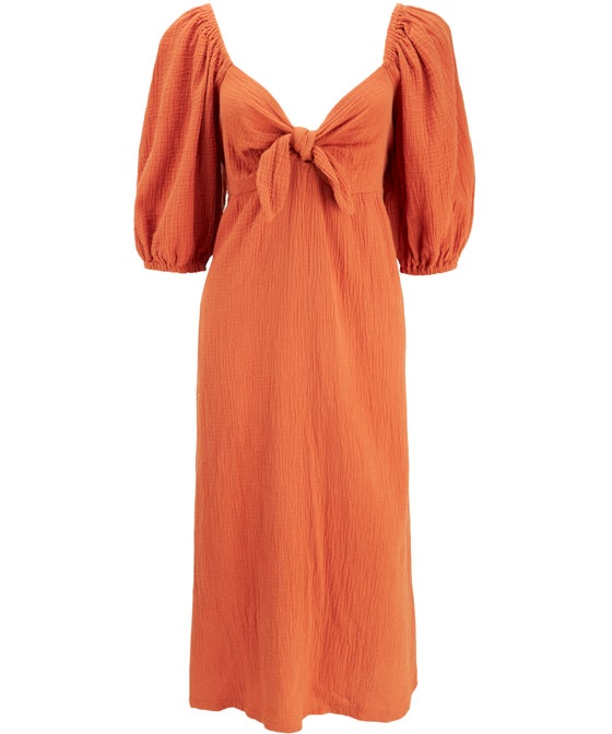 Women's Textured Tie Bust Midi Dress