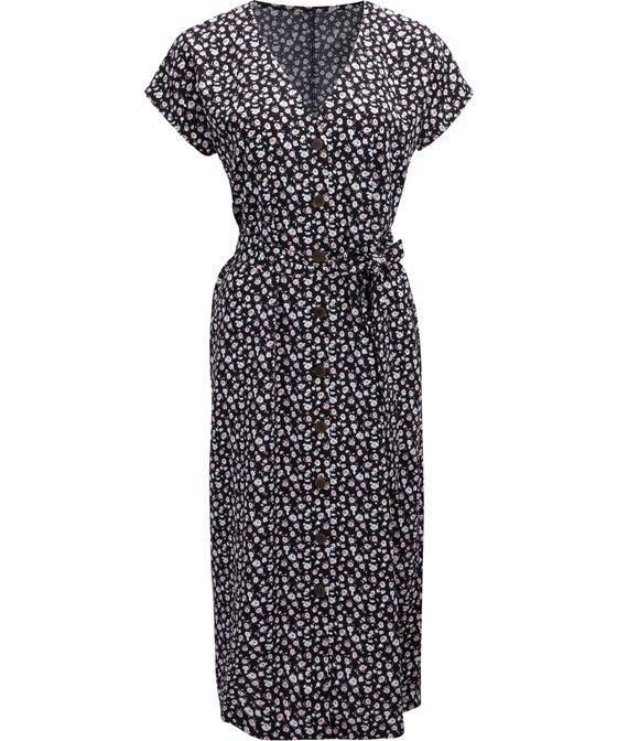 Women's Tie Waist Button Dress