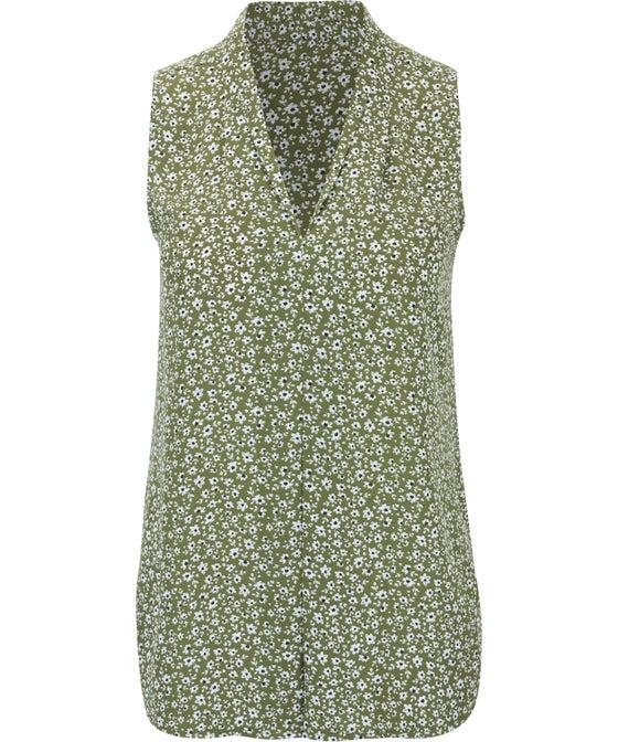 Women's V-Neck Pleat Sleeveless Top