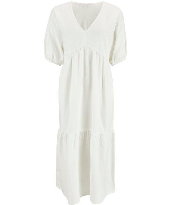 Women's V Neck Tier Linen Blend Midi Dress