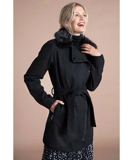 Women's Zipped Faux Fur Trim Coat