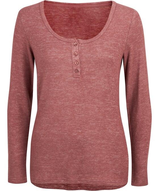 Women's Super Soft Long Sleeve Henley Lounge Top