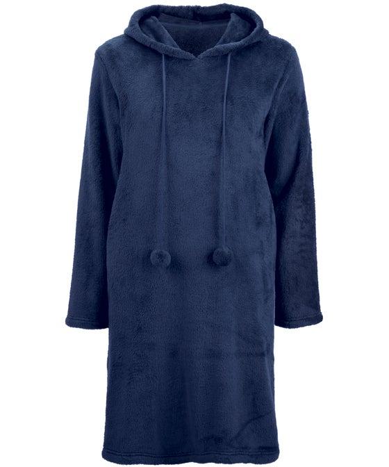 Women's Fluffy Fleece Hooded Pom Pom Nightie
