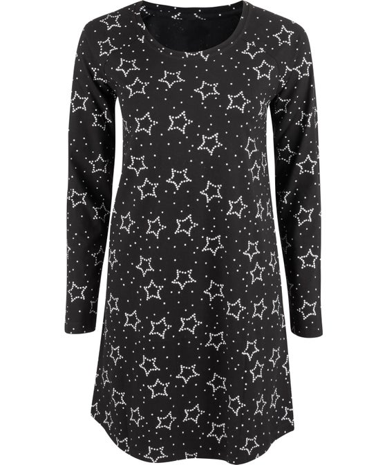 Women's Long Sleeve Print Knit Nightie