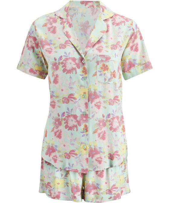 Women's Short Woven PJ Set