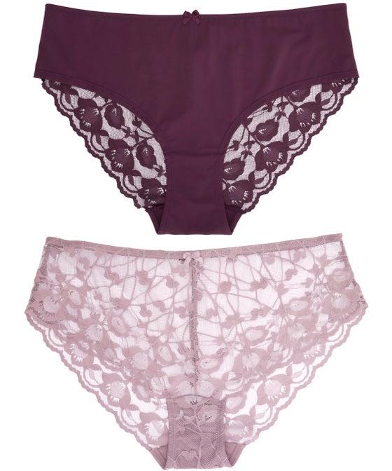 Women's Fuller Figure 2 Pack Lace Bikini Briefs