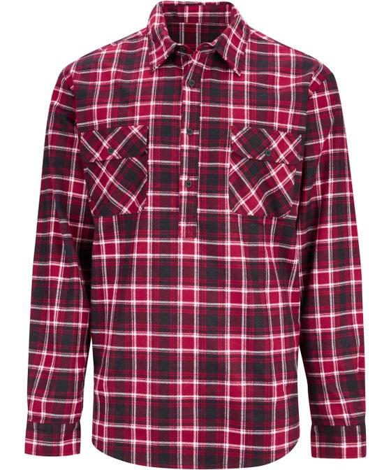 Mens' 1/2 Button Through Flannel Shirt