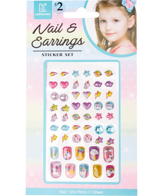 Rainbow Nail & Earring Sticker Set