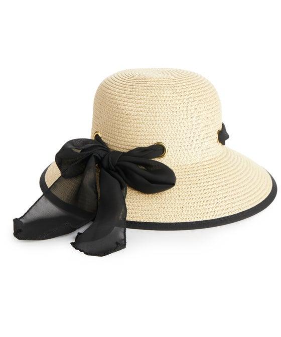 Women's Tie Straw Sun Hat