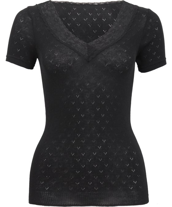 Women's Short Sleeve Pointelle Thermal Top